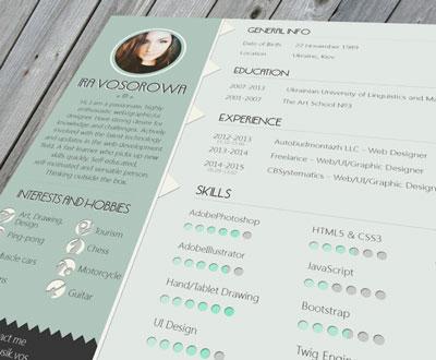 Plantillas de curriculum vitae gratuitas: Free Resume Template (mint design) de Ira Vosorowa