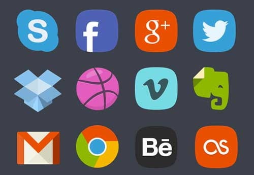 Pack gratuito de iconos de redes sociales: 20 Social Media Badges de Denis Shepovalov