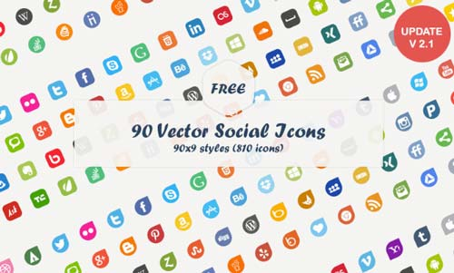 Pack gratuito de iconos de redes sociales: 90 Vector Social Icons de Dreamstale