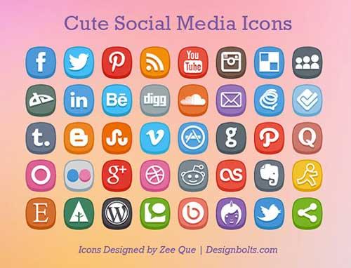 Pack gratuito de iconos de redes sociales: Cute social Media Icons de Zee Que