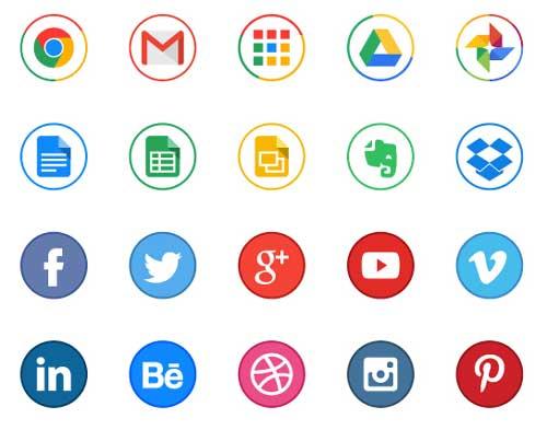 Pack gratuito de iconos de redes sociales: Free Circle Icons for Designers de Michal Kulesza