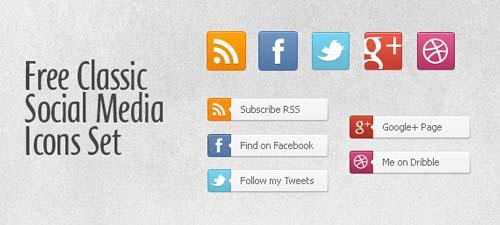 Pack gratuito de iconos de redes sociales: Free Classic Social Media Icon Set de PSDFolder