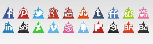 Pack gratuito de iconos de redes sociales: Free Triangle Vector Set de s-icons