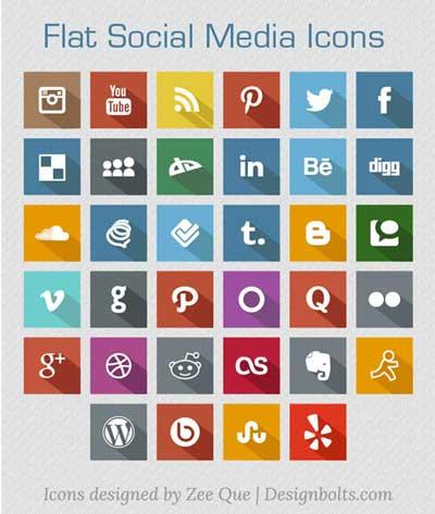 Pack gratuito de iconos de redes sociales: New Flat Social Media Icons de Zee Que