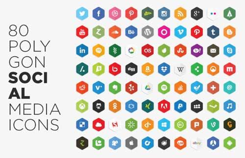 Pack gratuito de iconos de redes sociales: Polygon Social Media Icons de LunarPixel