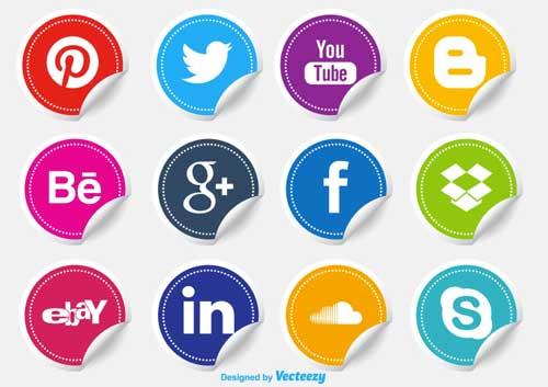 Pack gratuito de iconos de redes sociales: Social Media Icons Stickers de carterart