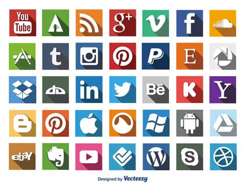Pack gratuito de iconos de redes sociales: Social Media Long Shadow Icon Set de carterart