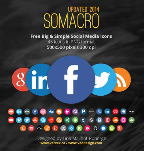 Pack gratuito de iconos de redes sociales: Somacro 45 300DPI Social Media Icons de vervex