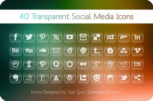 Pack gratuito de iconos de redes sociales: 40 Transparent Social Media Icons de Zee Que