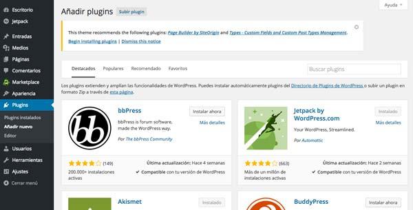 Cómo hacer página web en 3 pasos: Añadir plugins