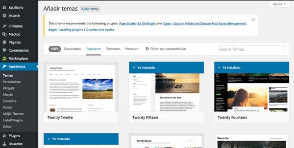Cómo hacer página web en 3 pasos: Añadir temas en WordPress