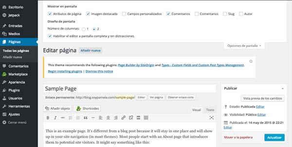 Cómo hacer página web en 3 pasos: Desactivar comentarios
