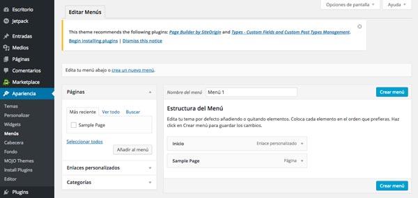 Cómo hacer página web en 3 pasos: Editar menú