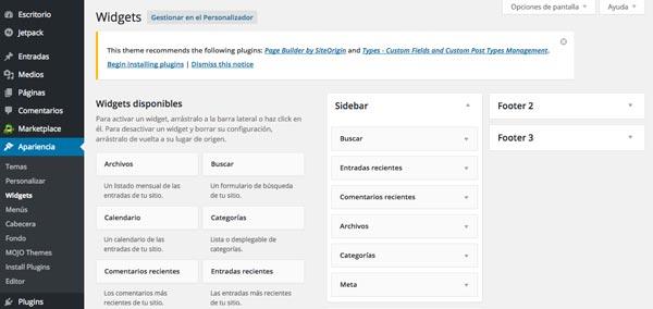 Cómo hacer página web en 3 pasos: Editar sidebar