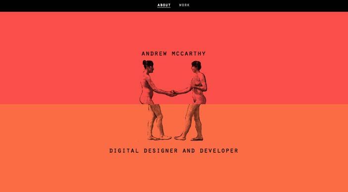Ejemplos de páginas web que hacen uso de diversos colores: Andrew Mc Carthy