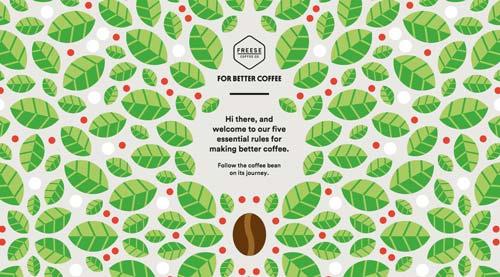 Ejemplos de páginas web que hacen uso de diversos colores: For Better Coffee