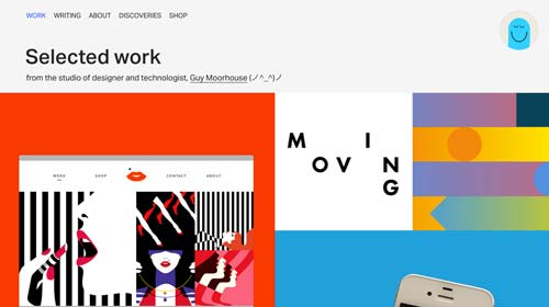 Ejemplos de páginas web que hacen uso de diversos colores: Guy Moorhouse