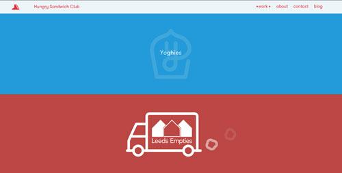 Ejemplos de páginas web que hacen uso de diversos colores: Hungry Sandwich Club