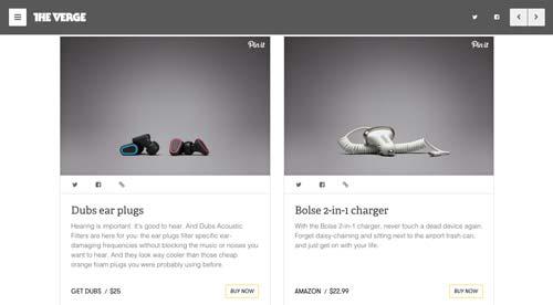 Tendencias actuales en el diseño de tienda online: Layout basada en tarjetas