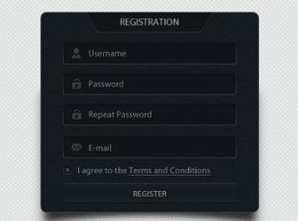 Archivos PSD gratuitos de formularios web que emplean colores oscuros: Dark Web Form Designs