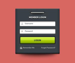 Archivos PSD gratuitos de formularios web que emplean colores oscuros: Member Login Form UI Element