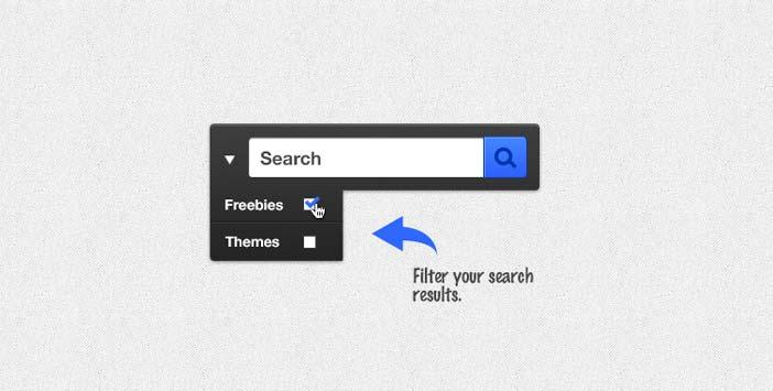 Archivos PSD gratuitos de formularios web que emplean colores oscuros: Search Box