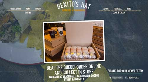 Ejemplo de sitios web de restaurantes: Benito's Hat