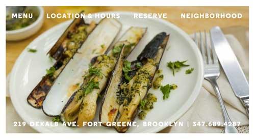 Ejemplo de sitios web de restaurantes: Colonia Verde