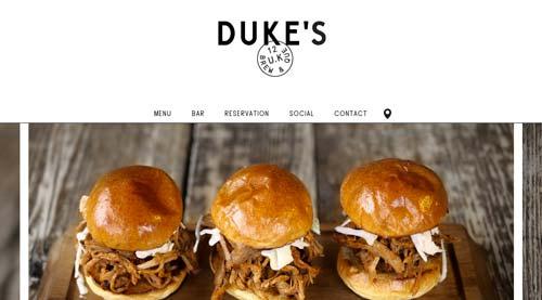 Ejemplo de sitios web de restaurantes: Duke's