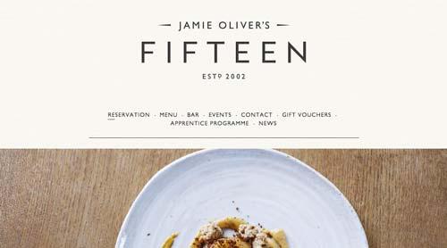 Ejemplo de sitios web de restaurantes: Fifteen