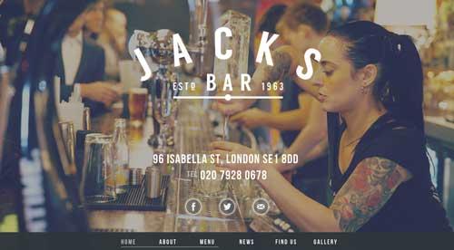 Ejemplo de sitios web de restaurantes: Jacks Bar