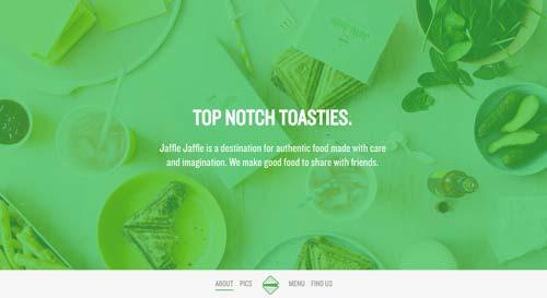 Ejemplo de sitios web de restaurantes: Jaffle Jaffle