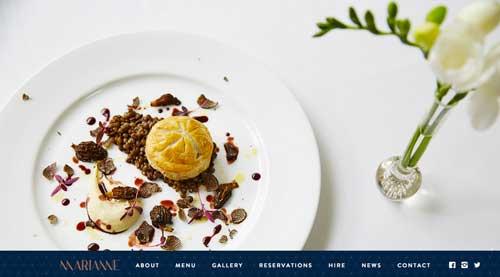 Ejemplo de sitios web de restaurantes: Marianne