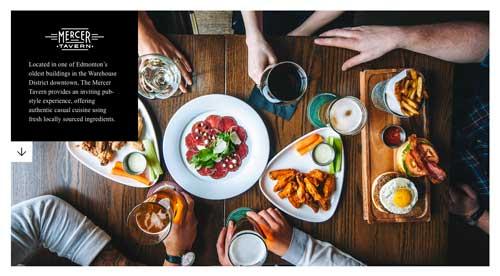 Ejemplo de sitios web de restaurantes: Mercer Tavern