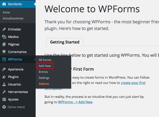 como-crear-un-formulario-de-contacto-con-wpforms-AddNew