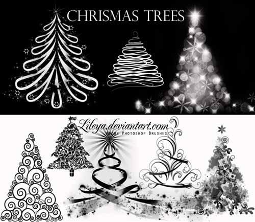 pinceles-navidenos-para-photoshop-forma-gratuita-christmastrees